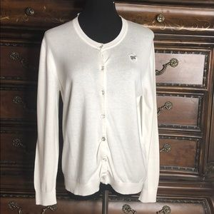 White GIRL SCOUT Button Up Sweater, size PXL